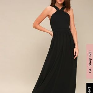 Black high neck bridesmaids dress